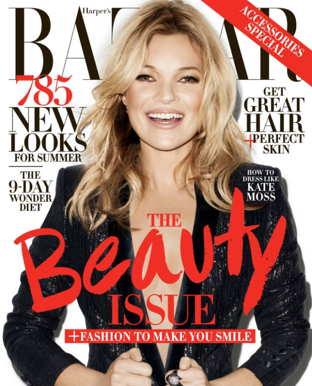 kate moss harpes bazaar may 2014 cover1 Kate Moss Shines for Harpers Bazaar May 2014 Cover by Terry Richardson