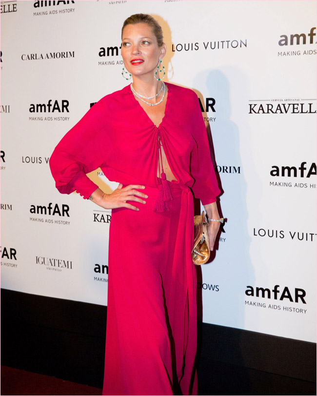 kate moss saint laurent dress Kate Moss Gets 70s Glam in Saint Laurent at the 2014 amfAR Gala