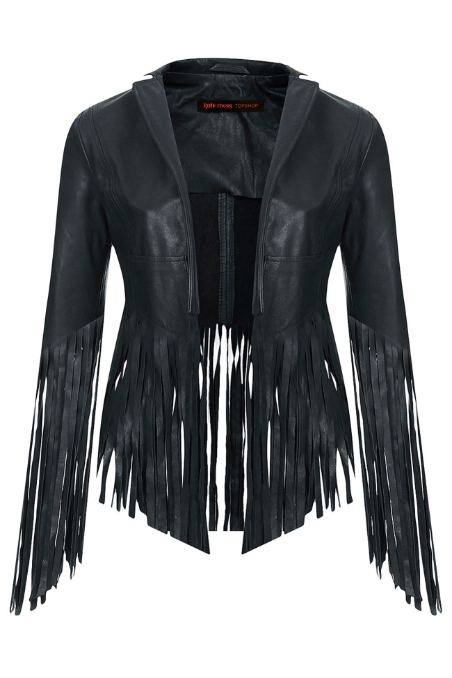 kate moss topshop fringed leather jacket Its Here! The Kate Moss for Topshop Collection Has Arrived