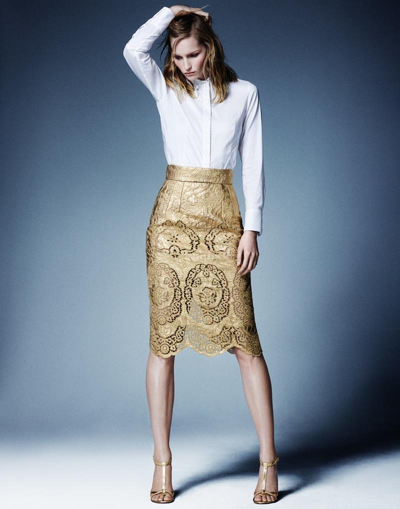 katrin thormann 2014 7 Stay Golden: Katrin Thormann in Metallics for Bazaar Germany by Jason Kim