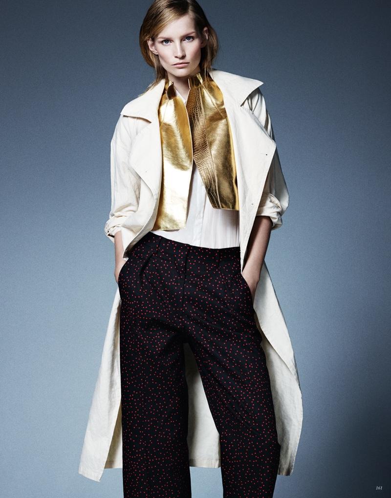 katrin thormann 2014 8 Stay Golden: Katrin Thormann in Metallics for Bazaar Germany by Jason Kim