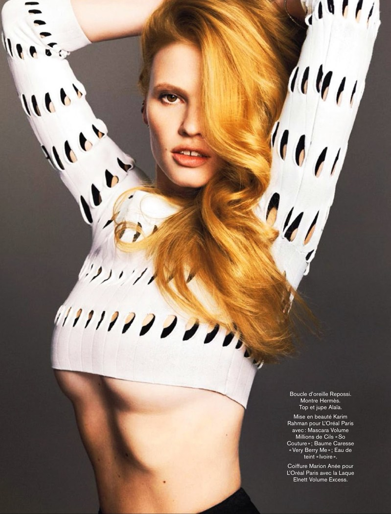 lara stone 2014 pictures Lara Stone Models Spring Beauty for Nico in Glamour France