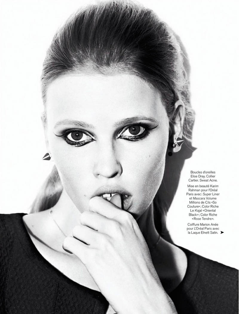 lara stone 2014 pictures2 Lara Stone Models Spring Beauty for Nico in Glamour France