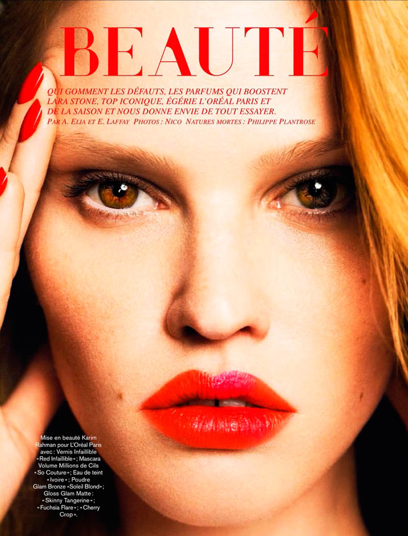 lara stone 2014 pictures4 Lara Stone Models Spring Beauty for Nico in Glamour France