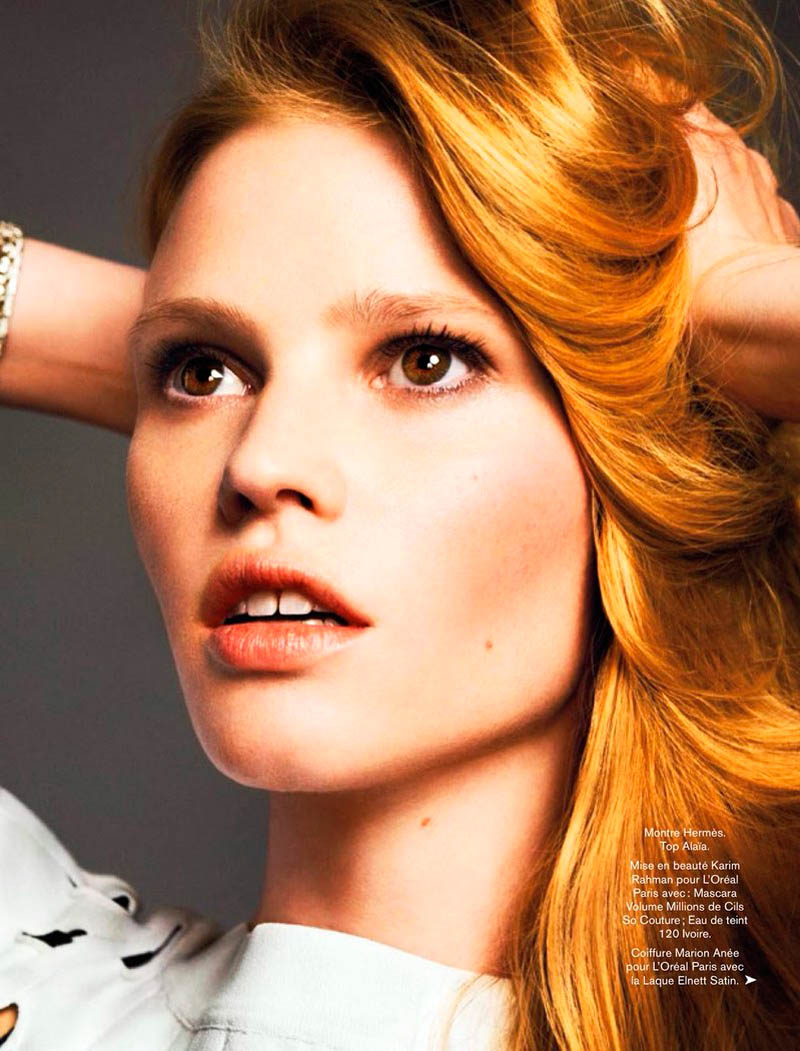 Lara Stone Models Spring Beauty for Nico in Glamour France