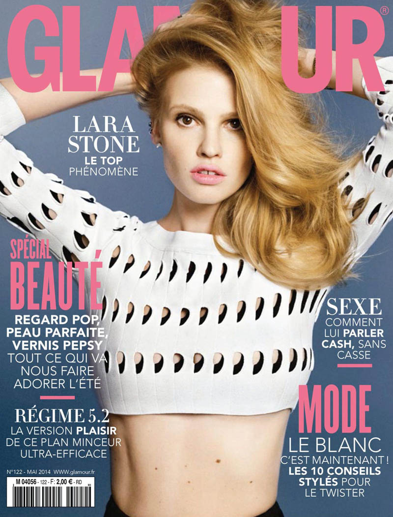 lara stone 2014 pictures9 Lara Stone Models Spring Beauty for Nico in Glamour France
