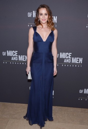 """Leighton Meester in Versace at the """"Of Mice and Men"""" Broadway Party"""