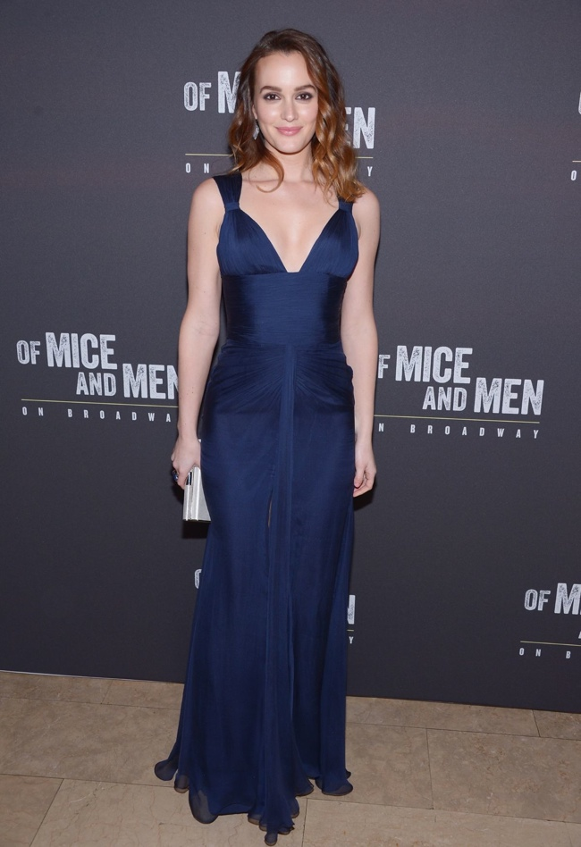 "Leighton Meester in Versace at the ""Of Mice and Men"" Broadway Party"