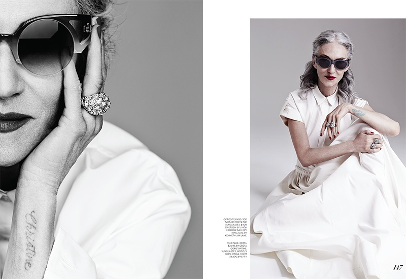 linda rodin photos2 At 65, Linda Rodin Models for FASHION Shoot by Gabor Jurina