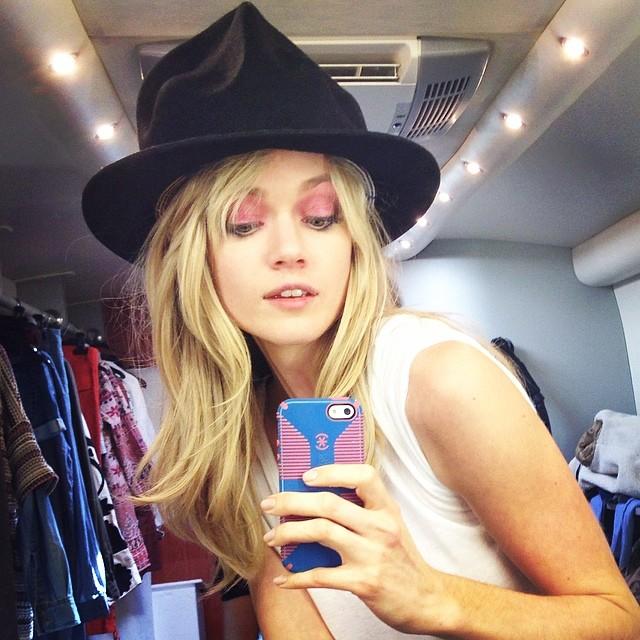 Lindsay Ellingson takes a selfie