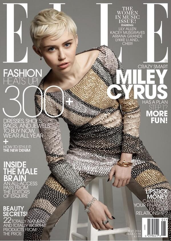 Miley Cyrus Wears Marc Jacobs on ELLE's May 2014 Cover