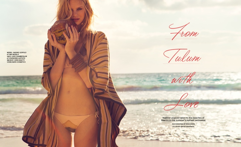 nadine leopold photos1 Nadine Leopold Hits the Beach for Foams May June Issue
