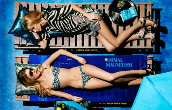 Britt Maren, Michaela Kocianova Model Swimwear in Neiman Marcus Shoot by Nick Prendergast