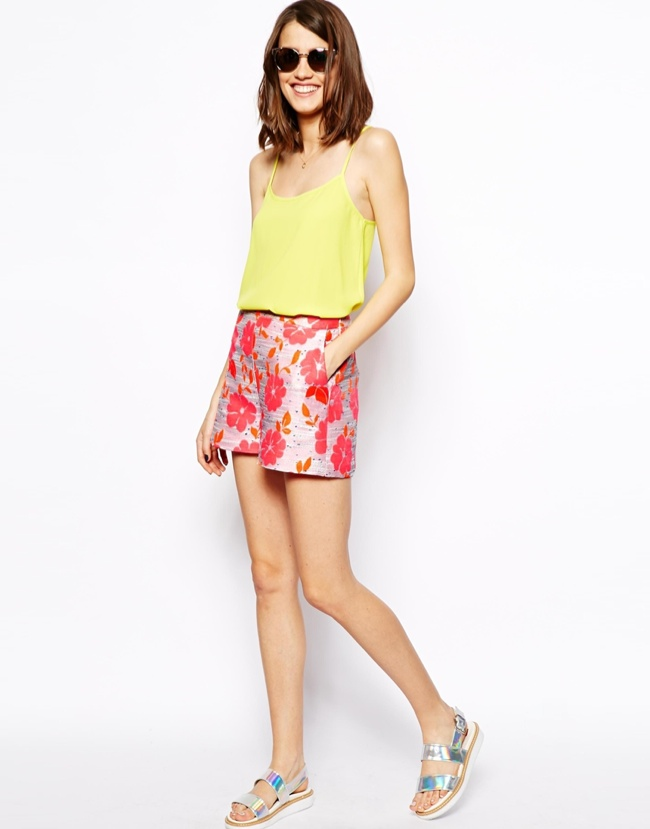 neon-floral-print-shorts