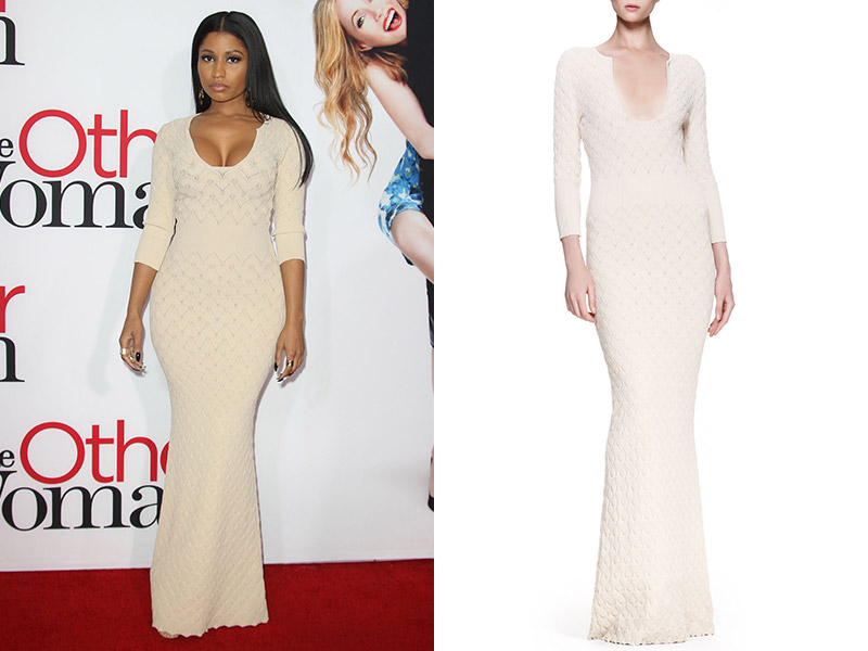 nicki alexander mcqueen dress Get the Look: Nicki Minaj in Alexander McQueen Rib Knit Gown