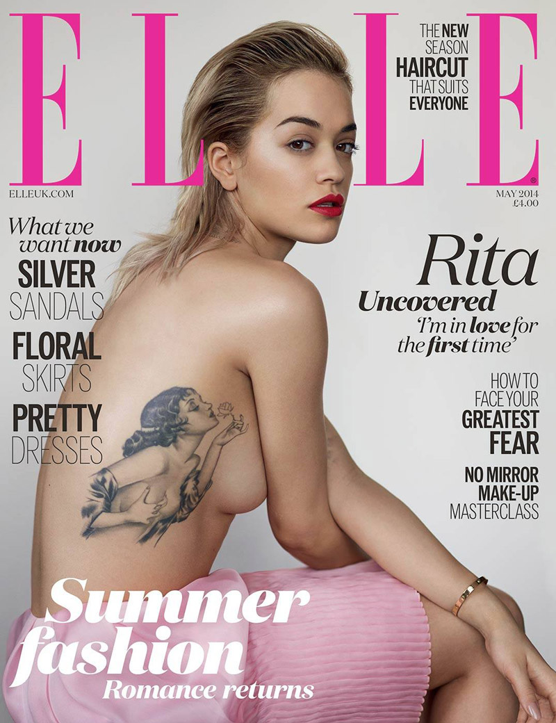 rita ora elle uk cover Rita Ora Goes Topless, Shows Off Tattoo on Elle UK Cover
