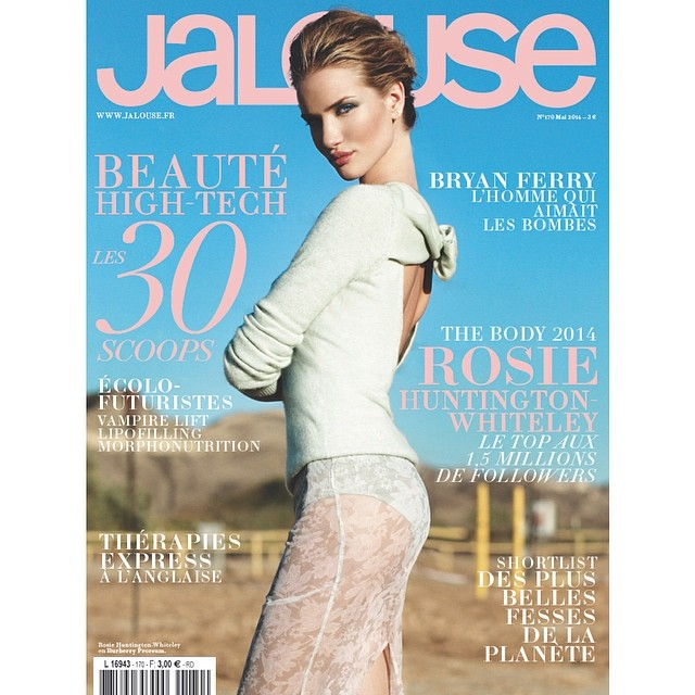 rosie hw jalouse cover Rosie Huntington Whiteley is Seductive in Burberry on Jalouse May 2014 Cover