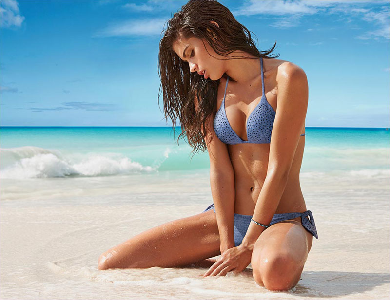 Sara Sampaio catches some rays for Calzedonia's summer '14 campaign. Image: Calzedonia