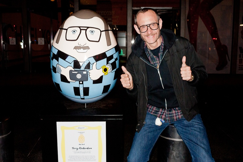 Photo: Terry Richardson poses next to egg version of himself. Via Terry's Diary