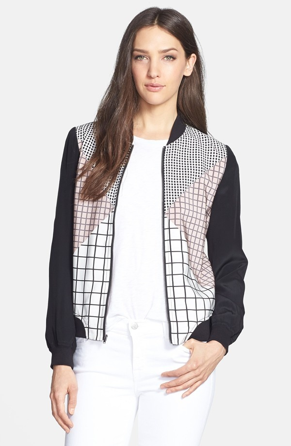 trina turk adah silk bomber jacket 5 Spring Bomber Jackets to Wear Now