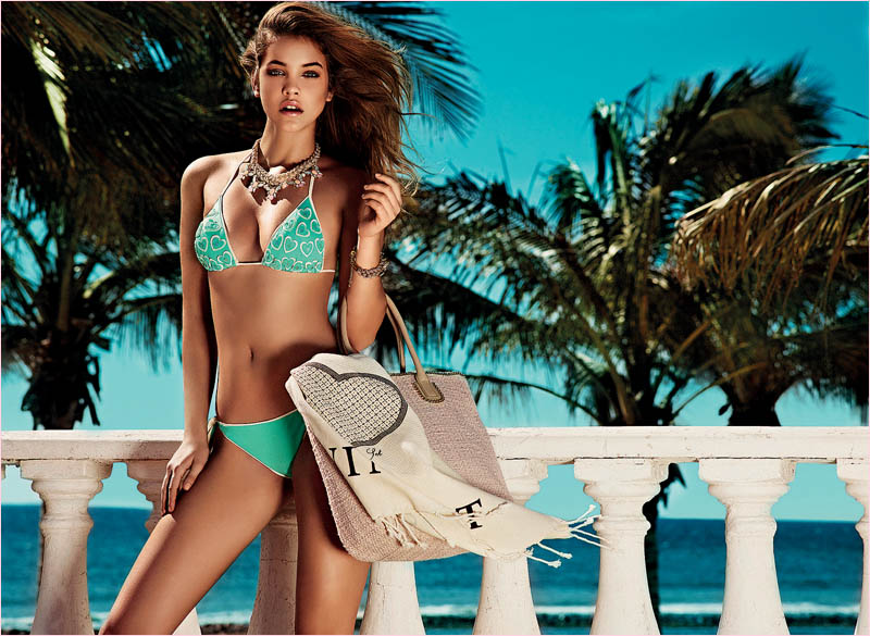 twin set spring 2014 beachwear barbara palvin2 Barbara Palvin in Bikinis for Twin Set Beachwear Spring 2014 Campaign