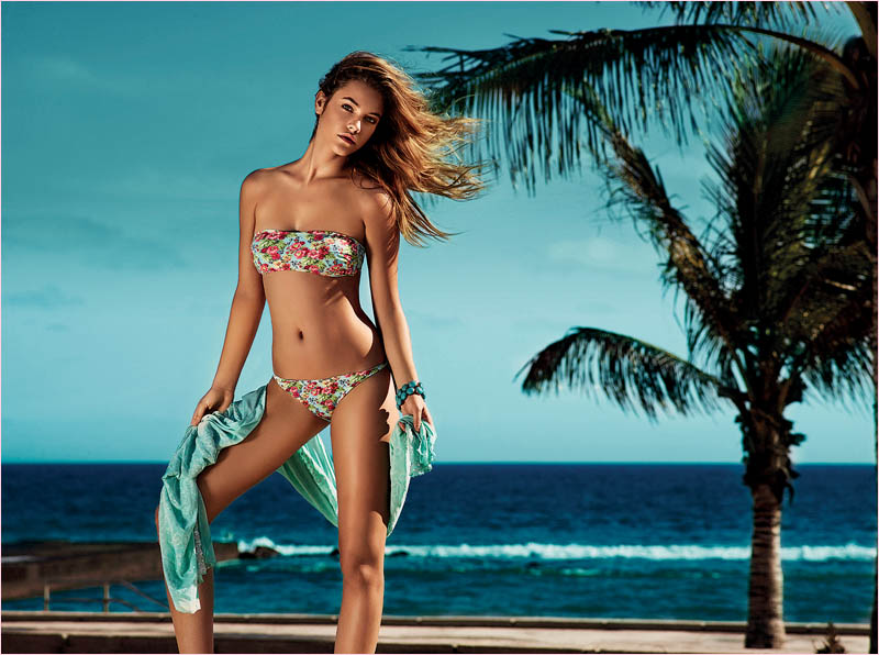 twin set spring 2014 beachwear barbara palvin7 Barbara Palvin in Bikinis for Twin Set Beachwear Spring 2014 Campaign