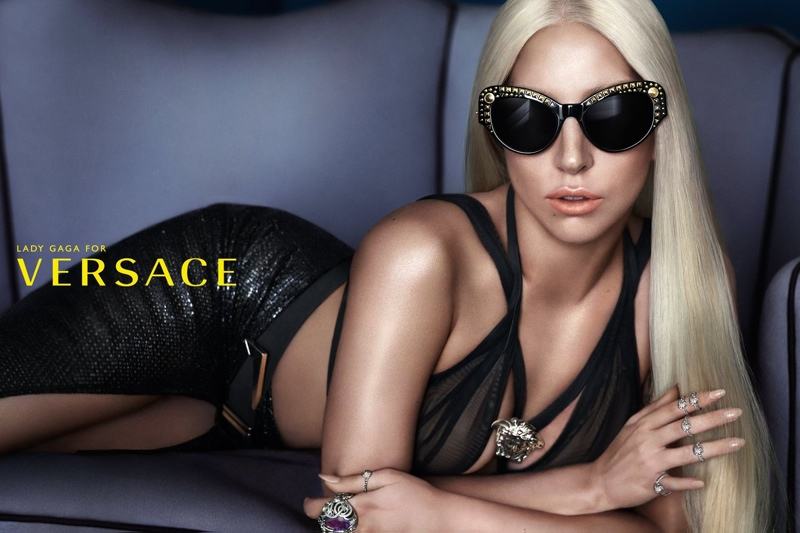 Lady Gaga in Versace Eyewear Spring 2014 Campaign. Photo by Mert & Marcus. Image: Versace Official Facebook