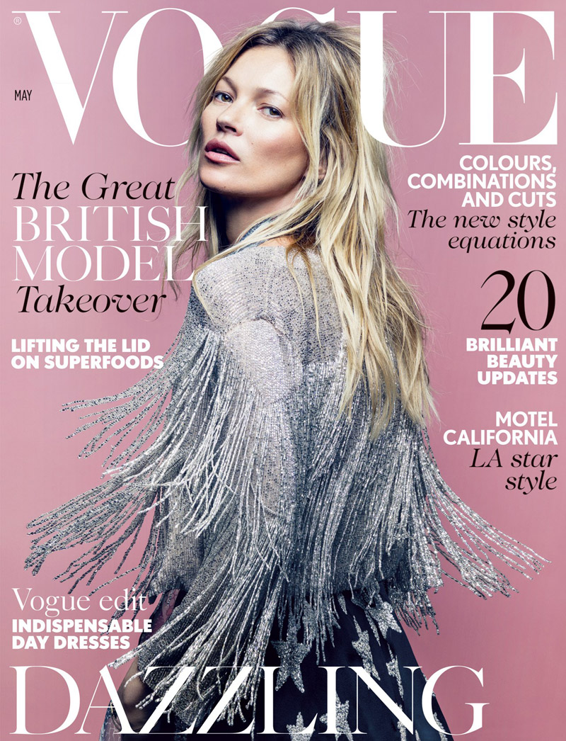 Kate Moss Covers Vogue UK May 2014 in Her Topshop ...