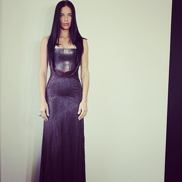Adriana Lima wearing Givenchy before the Met