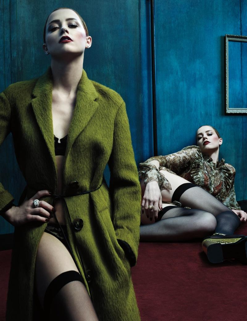 amber heard steven klein1 Amber Heard Models Lingerie Looks for W Magazine Cover Story