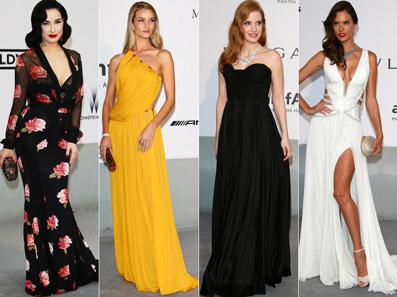 amfar cinema style roundup 2014 amfAR Gala at Cannes: Jessica Chastain, Alessandra Ambrosio, Dita Von Teese & More