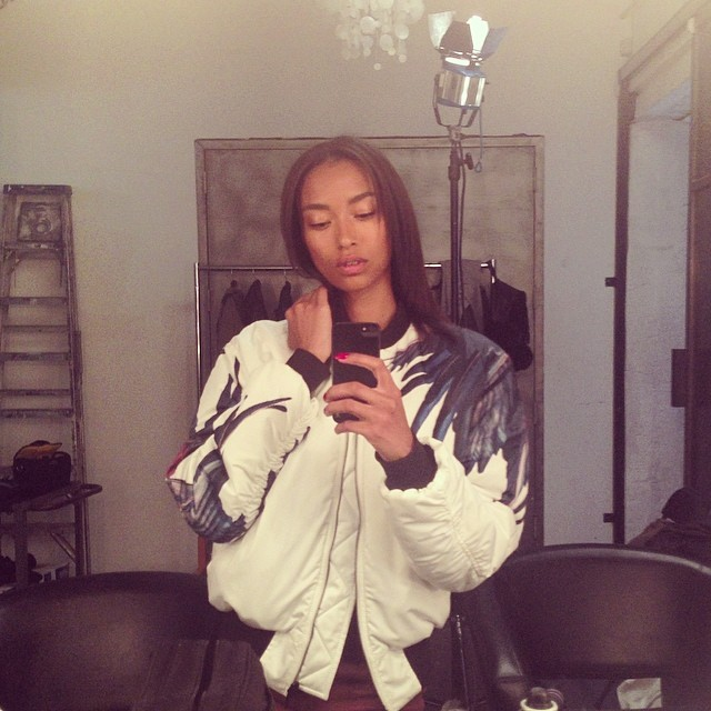 Anais Mali shows off her bomber jacket