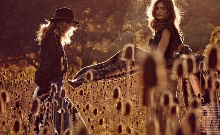 andreea edita jansson12 Andreea Diaconu & Edita Vilkeviciute Model Weekend Style for Vogue Paris by Mikael Jansson