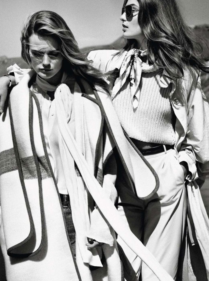 andreea edita jansson2 Andreea Diaconu & Edita Vilkeviciute Model Weekend Style for Vogue Paris by Mikael Jansson