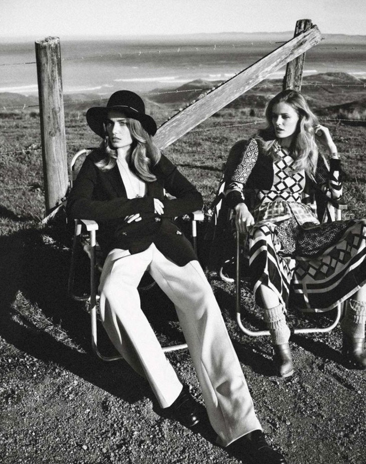 andreea edita jansson4 Andreea Diaconu & Edita Vilkeviciute Model Weekend Style for Vogue Paris by Mikael Jansson