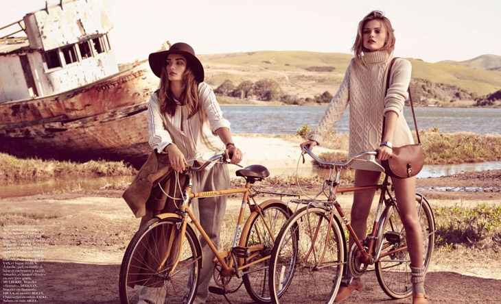 andreea edita jansson6 Andreea Diaconu & Edita Vilkeviciute Model Weekend Style for Vogue Paris by Mikael Jansson