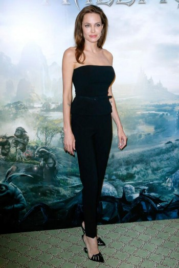 "Angelina Jolie Wears Ralph Lauren Pants Look at ""Maleficent"" Paris Photocall"
