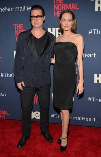 "Photo: Brad Pitt & Angelina Jolie at ""The Normal Heart"" New York Screening. Image from Getty"