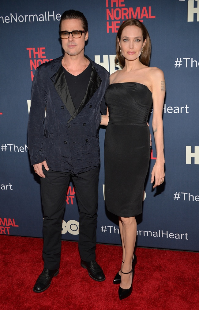 angelina saint laurent powder Angelina Jolie Wears Saint Laurent at The Normal Heart New York Screening