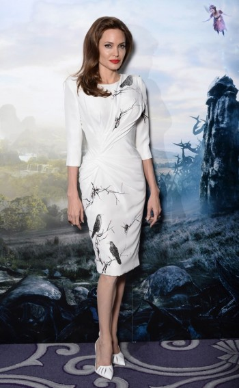 "Angelina Jolie is Ladylike in Versace Dress at ""Maleficent"" London Photocall"