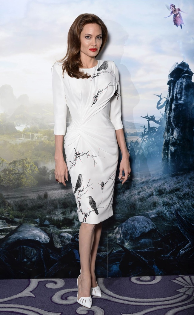 "angelina versace raven dress Angelina Jolie is Ladylike in Versace Dress at ""Maleficent"" London Photocall"