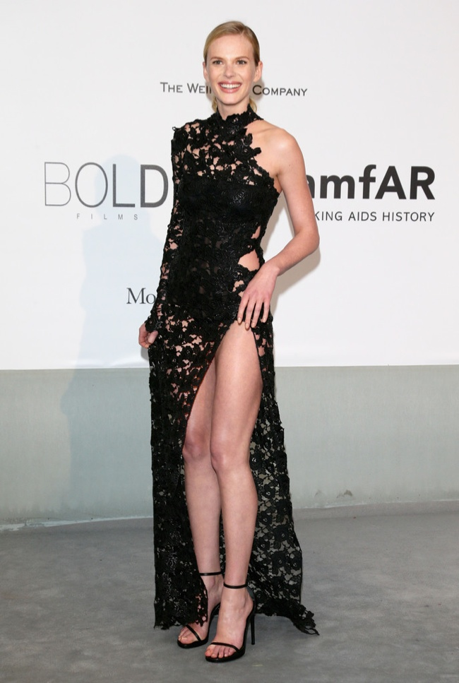 Anne V also wore a black, but skin baring look from Redemption Choppers
