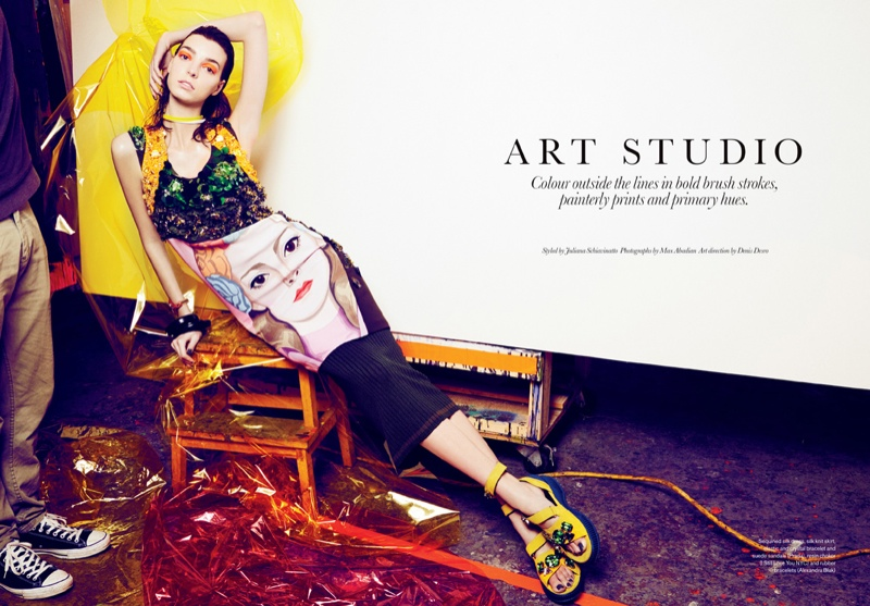 art fashion max abadian2 Art Studio: Dajana Gets Arty for Elle Canada by Max Abadian