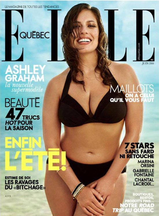 Hot and sexy model Ashley Graham on the cover of Elle magazine