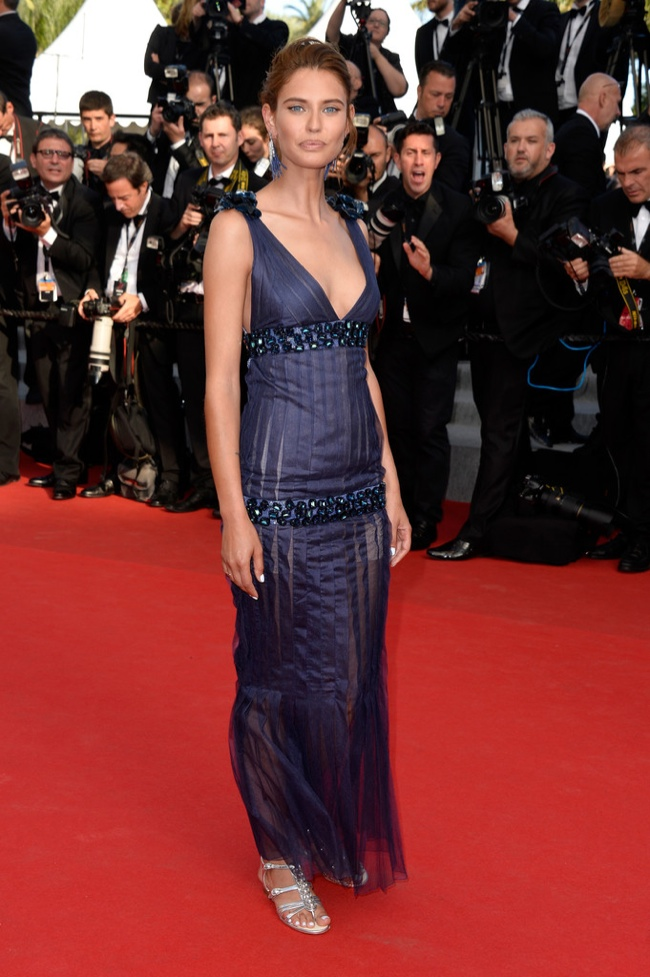 Bianca Balti donned a navy Chanel Haute Couture dress