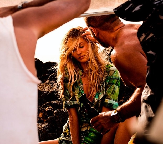 candice behind the scenes1 Candice Swanepoel Gets Steamy Behind the Scenes of Upcoming Osmoze Shoot