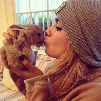 Cara Delevingne and her bunndy Cecil