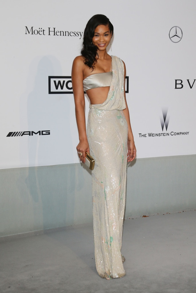 Chal Iman showed some skin in Reem Acra
