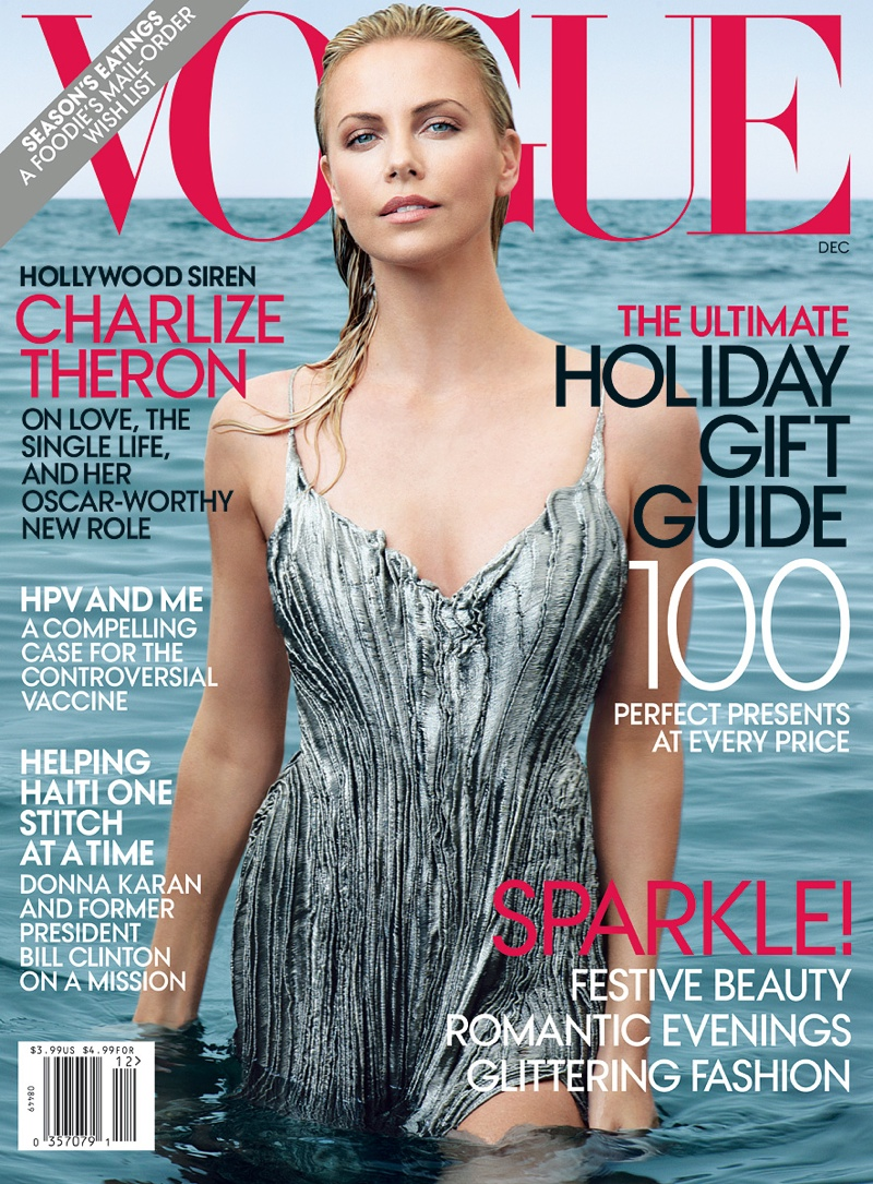 TALE OF TWO COVERS: Which cover do you think was best. Image: Charlize on Vogue December 2011 cover