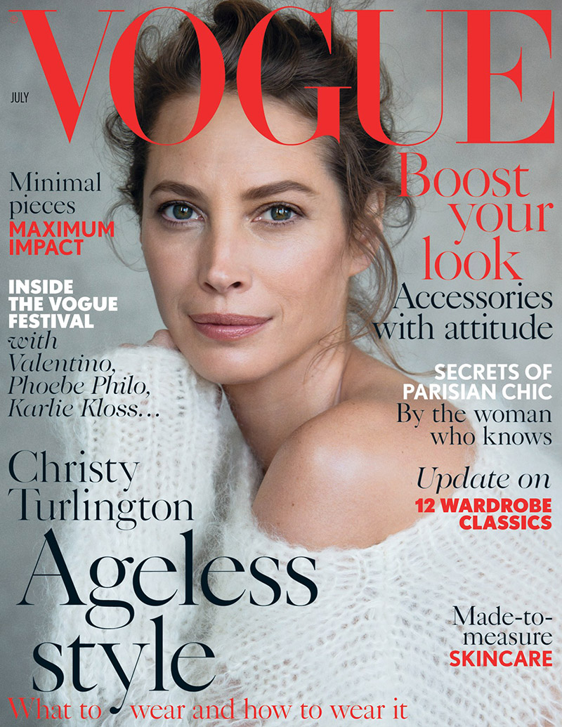 christy turlington vogue uk july 2014 cover See Christy Turlingtons First Vogue UK Cover in 18 Years